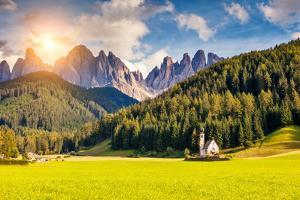 Countryside View of the Valley Santa Maddalena in the National Park Puez Odle or Geisler (Val Di Fu by Leonid Tit