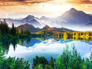 Fantastic Sunny Day is in Mountain Lake. Creative Collage. Beauty World. by Leonid Tit