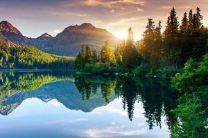 Mountain Lake in National Park High Tatra. Strbske Pleso, Slovakia, Europe. Beauty World. by Leonid Tit