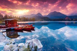 Peaceful Mountain Lake in National Park High Tatra. Dramatic Overcast Sky. Strbske Pleso, Slovakia, by Leonid Tit