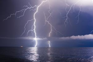 Summer Storm Beginning with Lightning by Leonid Tit