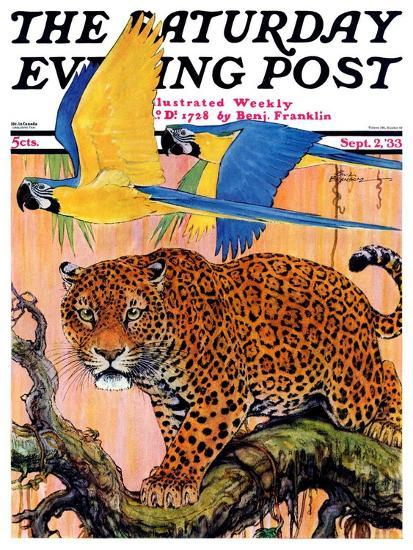 """""""Leopard and Parrots in Jungle,"""" Saturday Evening Post Cover, September 2, 1933-Paul Bransom-Giclee Print"""