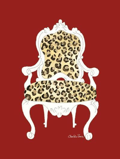 Leopard Chair on Red-Chariklia Zarris-Art Print