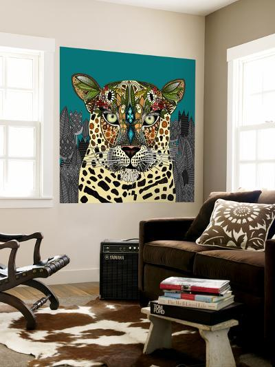 Leopard Queen Teal-Sharon Turner-Wall Mural