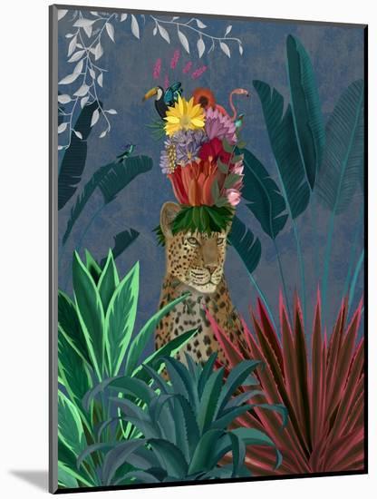 Leopard with Headdress-Fab Funky-Mounted Art Print