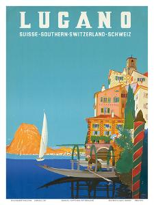 Swiss Italian Resort, Lugano, Switzerland c.1958 by Leopoldo Metlicovitz