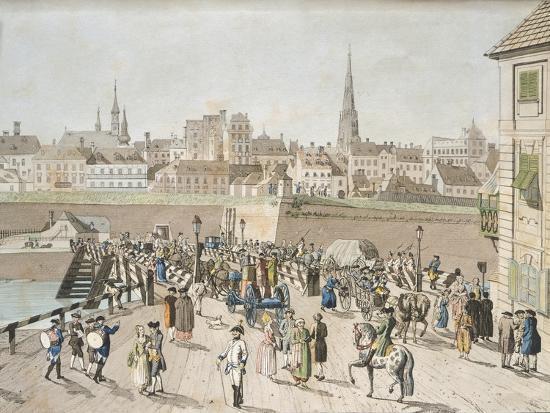 Leopoldstadt Bridge in Vienna Engraving, Austria 18th Century--Giclee Print