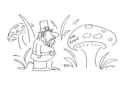 Leprechaun looking at mushroom labeled 'Non Toxic.' - Cartoon-Arnie Levin-Premium Giclee Print