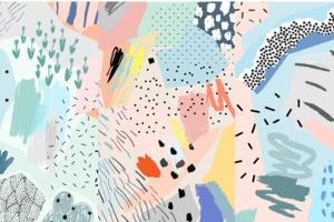 Creative Art Header with Different Shapes and Textures. Collage. Vector by Lera Efremova