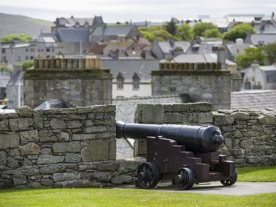 Lerwick. the Historic Center, Fort Charlotte with a View over Lerwick Towards the Island of Bressay-Martin Zwick-Photographic Print