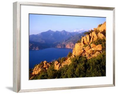 Les Calanques, Rocky Inlets Towering 400 Metres Above Golfe De Porto, Piana, Corsica, France-Tony Wheeler-Framed Photographic Print