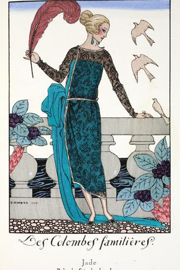 Les Colombes Familieres - Jade - Evening Gown de Chez Jenny 1920-Georges Barbier-Giclee Print
