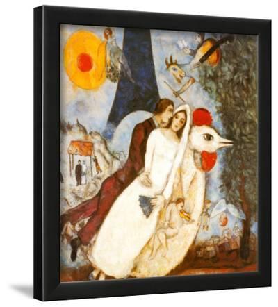 Les Fiancees de la Tour Eiffel-Marc Chagall-Lamina Framed Art Print