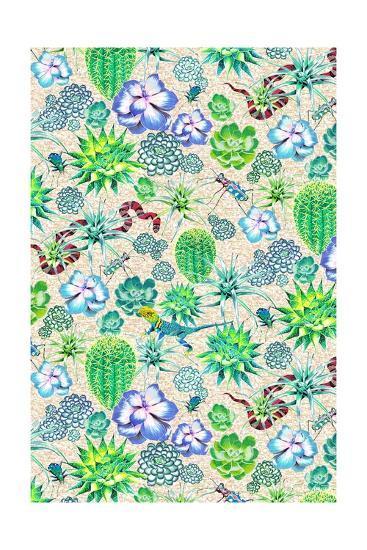 Les Jardins Majorelle - Succulents-Jacqueline Colley-Giclee Print