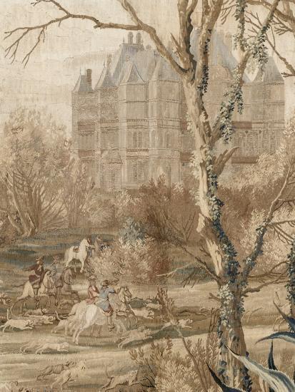 Les Maisons royales. Une entrefenêtre de la tenture. Une chasse en vue du château de Madrid-Charles Le Brun-Giclee Print