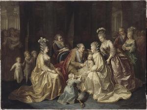 Les membres de la famille royale de France réunis autour du Dauphin né en 1781