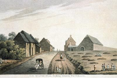 Les Quatre Bras, Looking Towards Waterloo, Published by R. Bowyer, 1815 (Colour Aquatint)--Giclee Print