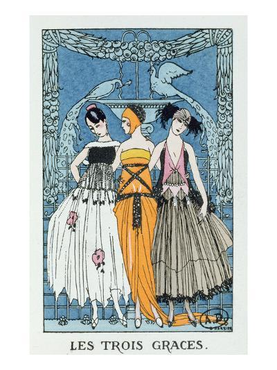 Les Trois Graces, 1918 (Colour Litho)-Georges Barbier-Giclee Print