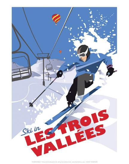 Les Trois Vallees - Dave Thompson Contemporary Travel Print-Dave Thompson-Art Print