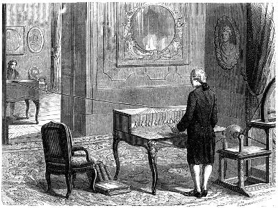 Lesage Experimenting with the First Electric Telegraph, Geneva, 1774--Giclee Print