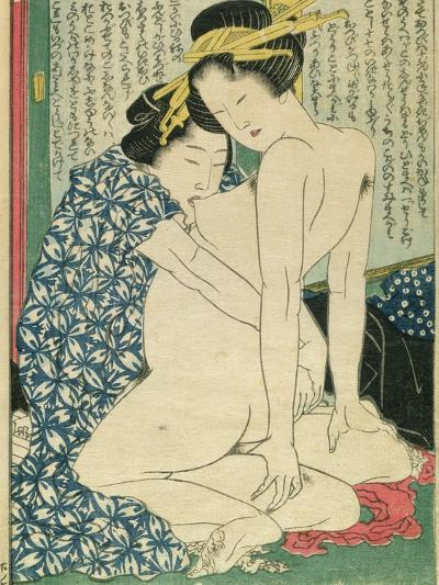 Lesbian Lovers, from 'Manpoku Wago-Jin', 1821-Katsushika Hokusai-Giclee Print