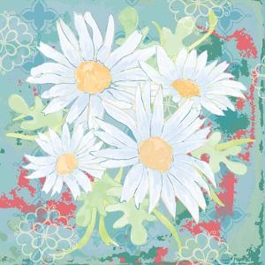 Daisy Patch Teal I by Leslie Mark