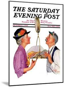 """""""Tipping the Scales,"""" Saturday Evening Post Cover, October 3, 1936 by Leslie Thrasher"""