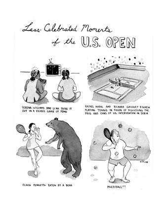 Less Celebrated Moments of the U.S. Open - Cartoon-Emily Flake-Premium Giclee Print