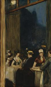 At the Cafe; Im Cafe by Lesser Ury