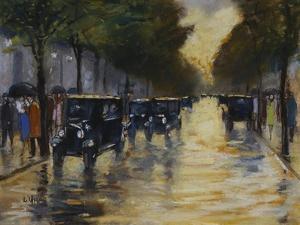 Berlin Streetscene in the Rain; Berliner Strassenszene in Regen by Lesser Ury