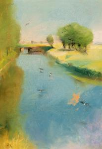 Canal, 1897 (Pastel on Canvas) by Lesser Ury
