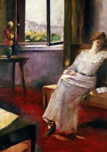 Seated Woman with a Book by Lesser Ury