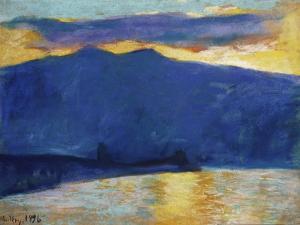 Sonnenaufgang am Gardasee. 1896 by Lesser Ury