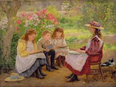Lesson in the Garden, 1900-Ada Shirley-Fox-Giclee Print