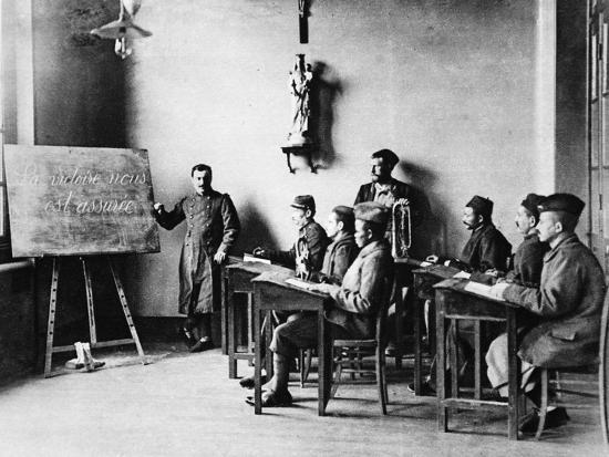 Lessons for Wounded French African Soldiers: a Wounded French Schoolmaster Teaching in His School--Photographic Print