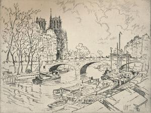 The Seine at Notre Dame, 1915 by Lester George Hornby