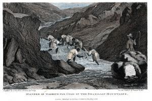 Manner of Washing for Gold in the Brazilian Mountains, 1814 by Lester