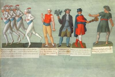 Athletes and Participants in Festivals During the French Revolutionary Period (Gouache)