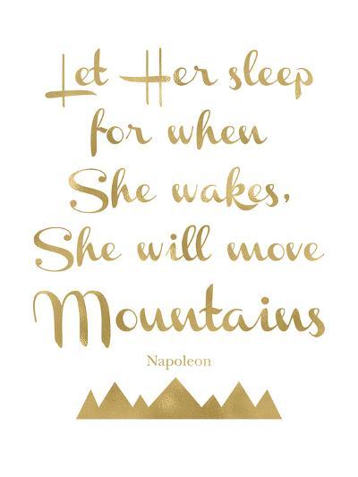 Let Her Sleep Mountains Golden White-Amy Brinkman-Art Print