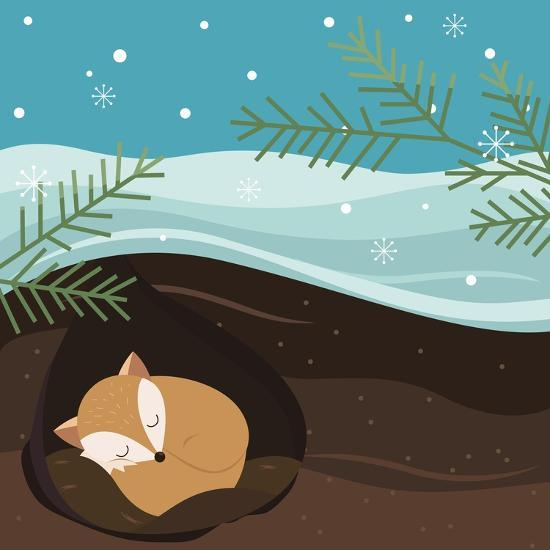 Let it Snow. Fox Sleeping in a Hole. Holiday Background. Christmas Vector.-Teamarwen-Art Print