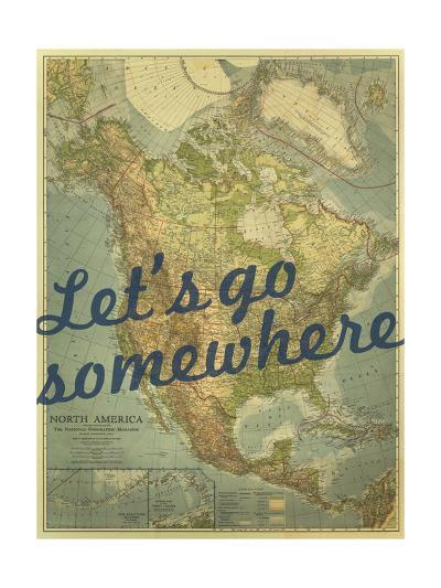 Let's go Somewhere - 1924 North America Map-National Geographic Maps-Giclee Print