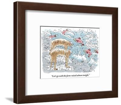 """Let's go with the farm-raised salmon tonight."" - New Yorker Cartoon-Danny Shanahan-Framed Premium Giclee Print"