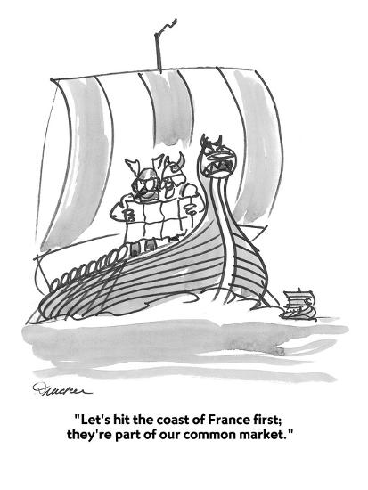 """""""Let's hit the coast of France first;  they're part of our common market."""" - Cartoon-Boris Drucker-Premium Giclee Print"""