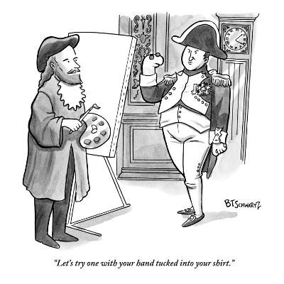 """""""Let's try one with your hand tucked into your shirt."""" - New Yorker Cartoon-Benjamin Schwartz-Premium Giclee Print"""