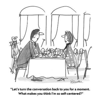 """""""Let's turn the conversation back to you for a moment.  What makes you thi?"""" - Cartoon-Boris Drucker-Premium Giclee Print"""