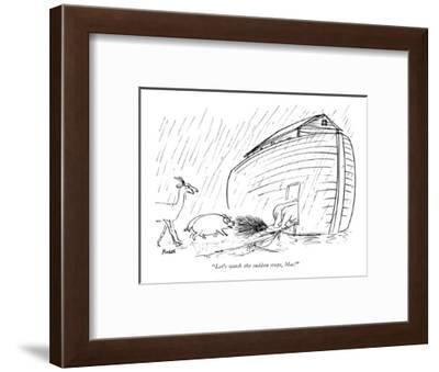 """Let's watch the sudden stops, Mac!"" - New Yorker Cartoon-Frank Modell-Framed Premium Giclee Print"