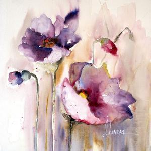 Plum Poppies I by Leticia Herrera