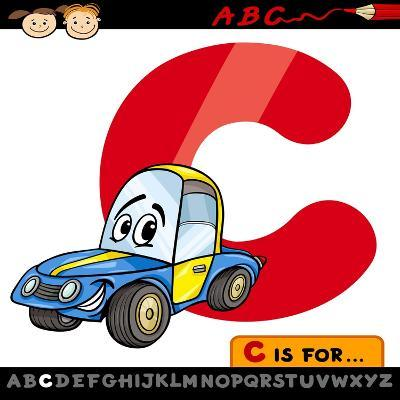 Letter C With Car Cartoon Illustration-Igor Zakowski-Art Print