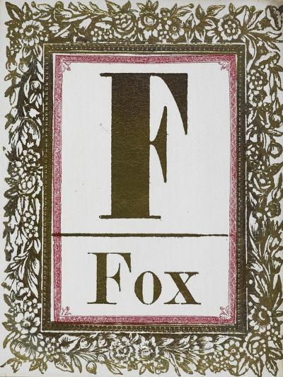 Letter F: Fox. Gold Letter With Decorative Border--Giclee Print