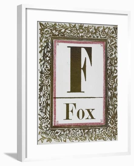 Letter F: Fox. Gold Letter With Decorative Border--Framed Giclee Print